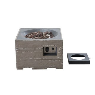 Sunjoy Kent 24 Faux Wood LP Fire Pit, Weathered Gray Finish