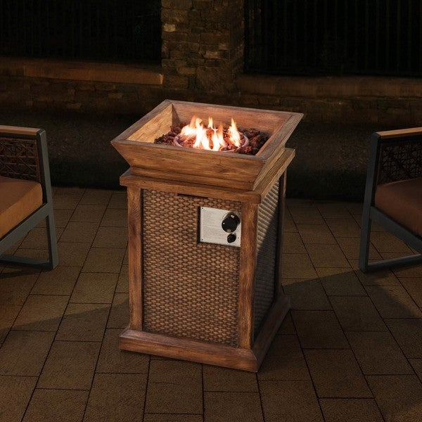 Sunjoy Wausau 29 Faux Wicker And Wood Lp Fire Pit Weathered Gray Finish Free Shipping Today