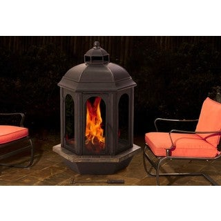 Sunjoy Ava 52-inch Slate and Steel Outdoor Fireplace