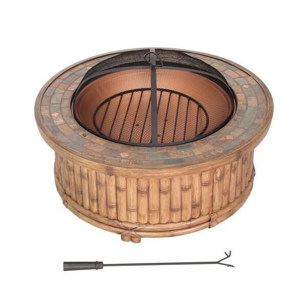 Shop Sunjoy 36-inch Tiki Fire Pit Natural Finish