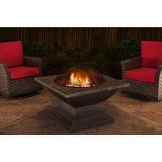 Sunjoy 36-inch Steel with Slate Top Fire Pit