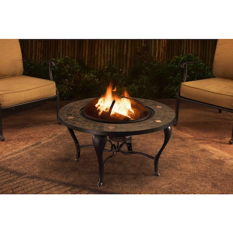 Sunjoy 35-inch Steel and Slate Fire Pit