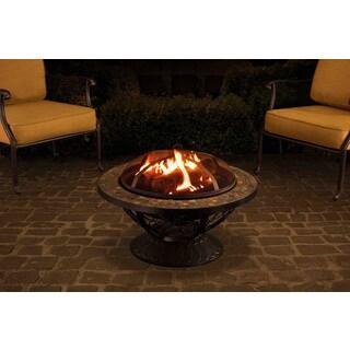 Sunjoy 30-inch Round Slate Top Fire Pit