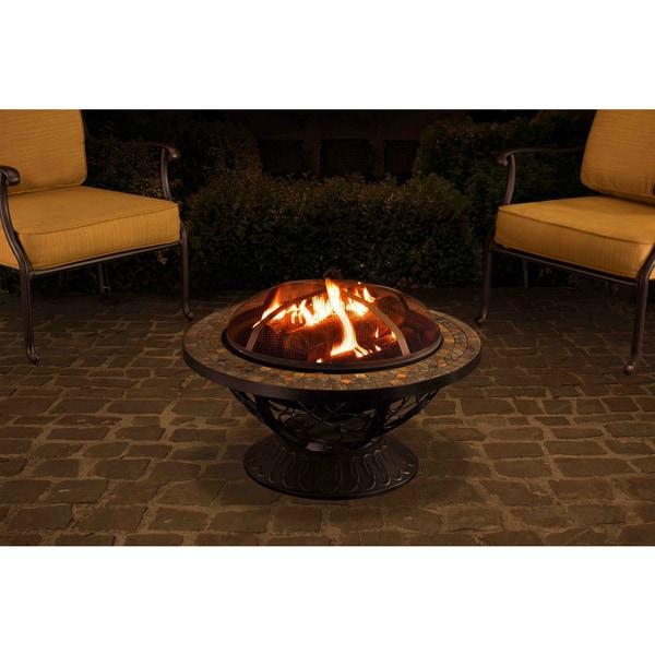 Shop Sunjoy 30-inch Round Slate Top Fire Pit
