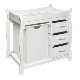 Badger Basket White Sleigh Style Hamper and Storage Changing Table|https://ak1.ostkcdn.com/images/products/11588324/P18528489.jpg?impolicy=medium