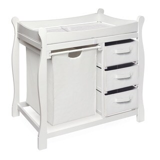Badger Basket White Sleigh Style Hamper and Storage Changing Table