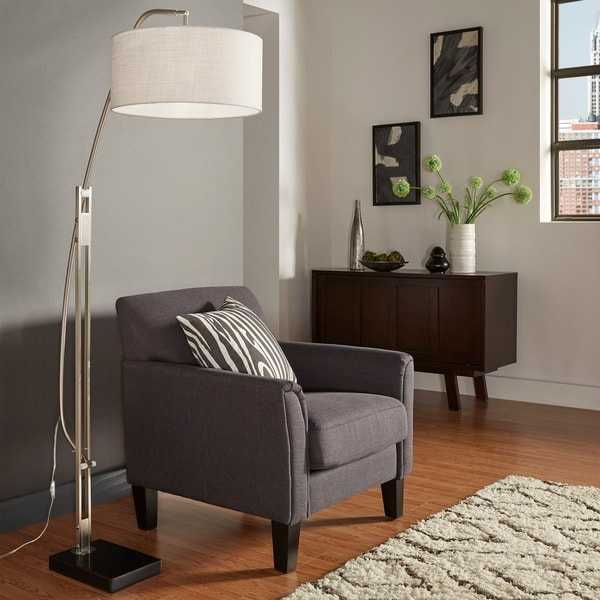 Polished chrome arched adjustable floor lamp inspire q for Arch floor lamps for living room