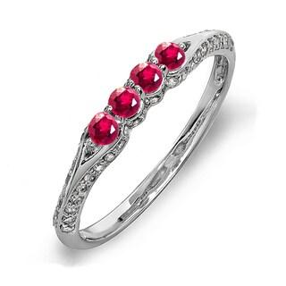 14k White Gold 1/2ct TDW Diamond and Round Ruby Wedding Ring (H-I, I1-I2)