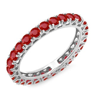 14k White Gold 1 3/4ct TGW Round Ruby Eternity Wedding Anniversary Ring