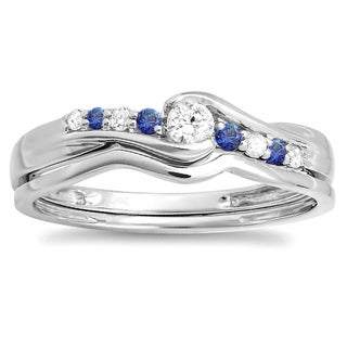 Elora 10k White Gold 1/4ct TGW Blue Sapphire and Diamond Accent Bridal Engagement Ring Set (H-I, I1-I2)