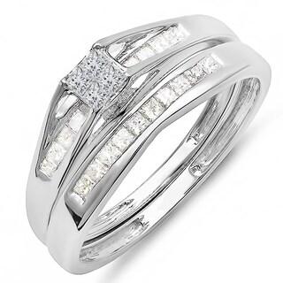 Elora 14k White Gold 1/2ct TDW Princess Diamond Bridal Set (H-I, I1-I2)
