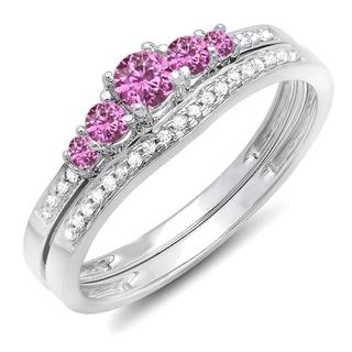 Elora 14k White Gold 1/2ct TDW Diamond and Round Pink Sapphire 5-stone Bridal Set (H-I, I1-I2)