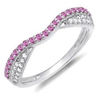 Elora 14k Gold 1/3ct TDW Diamond and Round Pink Sapphire Wedding Set (H-I, I1-I2)