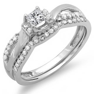 Elora 10k White Gold 2/5ct TDW Diamond Bridal Swirl Band Set (H-I, I1-I2)