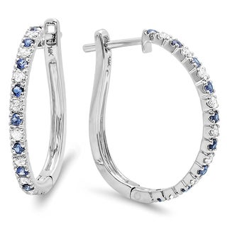 14k White Gold 1/2ct TDW Diamond and Blue Sapphire Hoop Earrings (H-I, I1-I2)