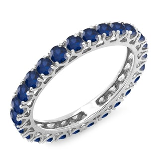 14k White Gold 1 3/4ct TGW Round Blue Sapphire Eternity Anniversary Stackable Ring