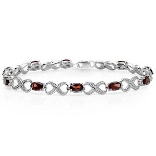 Elora Sterling Silver 5 1/2ct TGW Garnet and Diamond Infinity Link Tennis Bracelet (I-J, I2-I3)