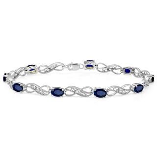 Elora Sterling Silver 4 1/10ct TGW Blue Sapphire and Diamond Infinity Link Tennis Bracelet (H-I, I1-I2)