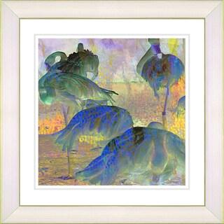 Studio Works Modern 'Abstract Flocking Flamingos' Framed Fine Art Print