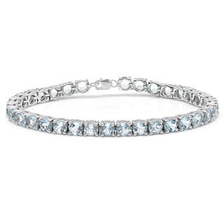 Elora Sterling Silver 10 ct. Real Round Cut Aquamarine Ladies Tennis Bracelet (Blue & I1-I2)