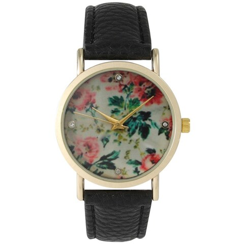 Olivia Pratt Women's Leather Floral Print with Rhinestone Accented Dial Watch