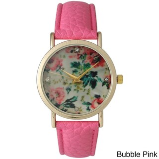 Olivia Pratt Women's Leather Floral Print with Rhinestone Accented Dial Watch (Option: Bubble Pink)