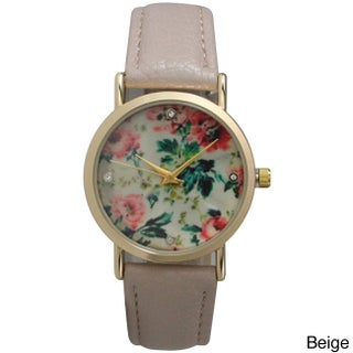 Olivia Pratt Women's Leather Floral Print with Rhinestone Accented Dial Watch (Option: Beige)