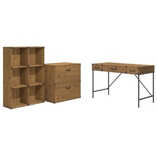 Ironworks 48W Writing Desk, 6-cube Bookcase, and Lateral File Cabinet