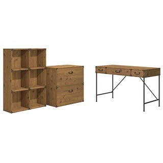 kathy ireland Office Ironworks 48W Writing Desk, 6 Cube Bookcase, and Lateral File Cabinet