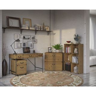 kathy ireland Office Ironworks 48W Writing Desk, 2 Drawer Mobile Pedestal, 6 Cube Bookcase, and Lateral File Cabinet