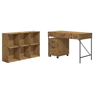 kathy ireland Office by Bush Furniture Ironworks 48-inch Wide Writing Desk, 2-drawer Mobile Pedestal, and 6-cube Bookcase