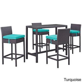 Gather 5 Piece Outdoor Patio Pub Set (Espresso Turquoise)