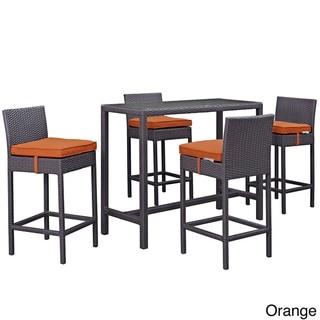 Gather 5 Piece Outdoor Patio Pub Set (Espresso Orange)