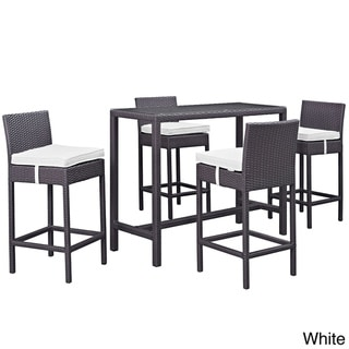 Gather 5 Piece Outdoor Patio Pub Set (Espresso white)