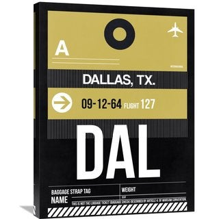 Naxart Studio 'DAL Dallas Luggage Tag 2' Stretched Canvas Wall Art