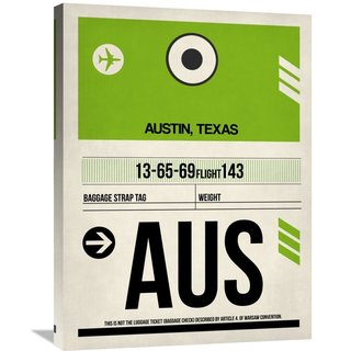 Naxart Studio 'AUS Austin Luggage Tag 1' Stretched Canvas Wall Art