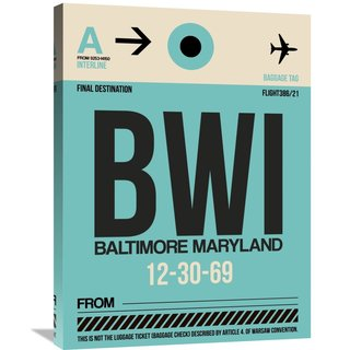 Naxart Studio 'BWI Baltimore Luggage Tag 1' Stretched Canvas Wall Art