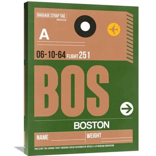 Naxart Studio 'BOS Boston Luggage Tag 1' Stretched Canvas Wall Art