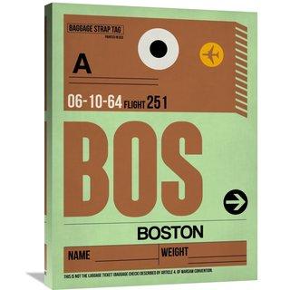 Naxart Studio 'BOS Boston Luggage Tag 1' Stretched Canvas Wall Art