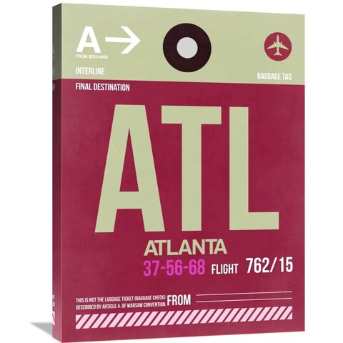 Naxart Studio 'ATL Atlanta Luggage Tag 2' Stretched Canvas Wall Art