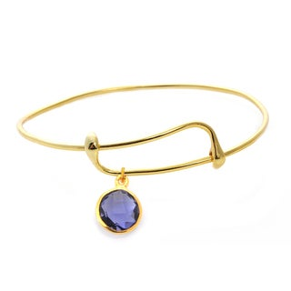 Goldplated Iolite Single Gemstone Bangle