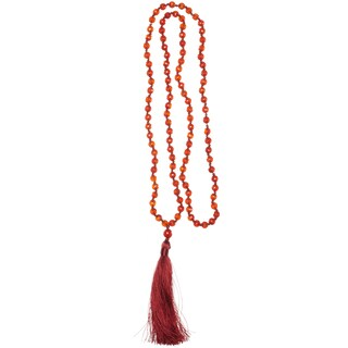 Alchemy Jewelry Handmade Sacred Faceted Ruby Carnelian - 6mm Mala Necklace with Silky Tassel