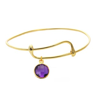 Goldplated Amethyst Single Gemstone Bangle