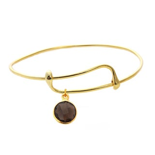 Goldtone Smokey Quartz Single Gemstone Bangle