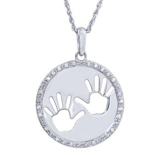 Bridal Symphony Sterling Silver 1/10ct TDW Diamond Tiny Hands Pendant