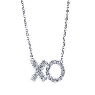 Bridal Symphony 14k White Gold 1/4ct TDW Diamond XO Necklace (I-J, I2-I3)