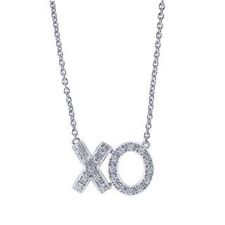 Bridal Symphony 14k White Gold 1/4ct TDW Diamond XO Necklace