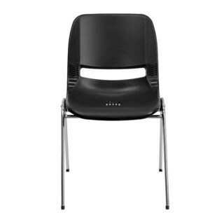 Offex Hercules Series 880-pound Capacity Black Ergonomic Shell Stack Chair with Chrome Frame and 18-inch Seat Height