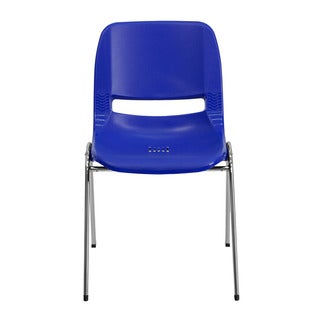 Offex HERCULES Series 880 lb Capacity Navy Ergonomic Shell Stack Chair with Chrome Frame and 18'' Seat Height
