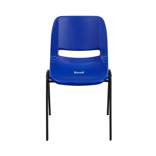 Offex Hercules Series 661-pound Capacity Navy Ergonomic Shell Stack Chair with Black Frame and 16-inch Seat Height